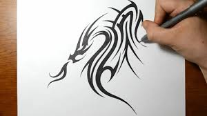 drawing a cool tribal dragon tattoo design youtube
