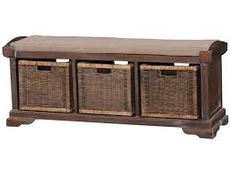 Bench With Baskets Bramble Living Room Homestead Bench With Rattan Baskets 23938