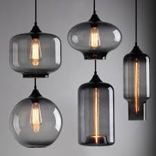 modern industrial smoky grey glass shade loft cafe pendant light