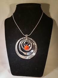 orange stone necklace images Silver necklace with orange and black glass stone home natural jpg