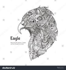 eagle ethnic floral doodle pattern coloring stock vector 380092390