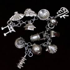 themed charm bracelet japanese sterling charm bracelet vintage solid silver japan themed