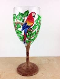 New Home Gift by Painted Wine Glasses Custom Wine Glass Bird Wine Glasses New