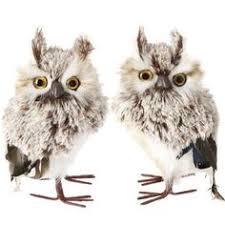 8 white fuzzy feather standing owl ornament owl