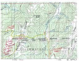 Yosemite Topo Map Yellowstone Backcountry Buffalo Plateau Trail Of The Woods