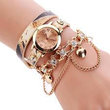 quartz bracelet wrist watches images 2018 new fashion unisex woman leather rhinestone rivet chain jpg