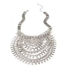 rhinestone statement necklace images Cascade boho layered rhinestone statement necklace jpg