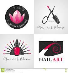 set of nails salon nails art vector logo icon symbol emblem