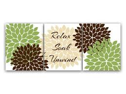 Lime Green Bathroom Accessories by Relax Soak Unwind Wall Art Green And Brown Bathroom Green And