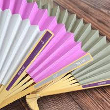 personalized folding fans for weddings personalized paper label folding hand fan favors hand fans favors