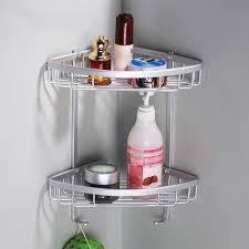 Suction Cup Bathroom Shelf Two Layer Space Aluminum Towel Washing Shower Basket Bar Shelf