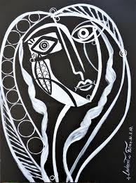 tableau portrait noir et blanc portrait cubiste dernières œuvres