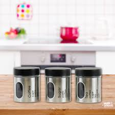 3 pc tea coffee sugar jar canisters set kitchen storage jars black
