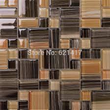 mosaic kitchen backsplash small and big square brown color crystal glass mosaic kitchen