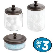 Glass Bathroom Storage Jars 3 Pc Clear Glass Apothecary Jars And Bronze Color Lids For