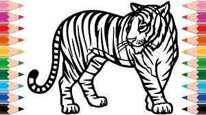 how to draw tiger coloring pages for kids drawing and learn colors