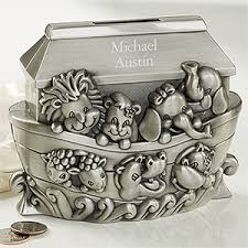 personalized silver piggy bank personalized piggy bank noah s ark