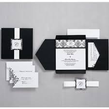 black and white scroll monogram pocket invitation wilton