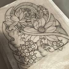 wonderful stencil of japanese flower tattoo golfian com