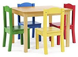 wooden table and chair set for amazon com tot tutors kids wood table and 4 chairs set natural