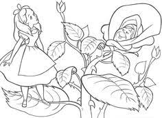 alice wonderland sitting leaf coloring pages