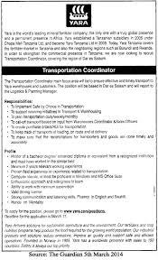 Sales Coordinator Job Description Transportation Coordinator Tayoa Employment Portal