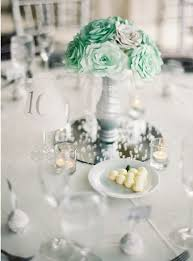 mint wedding decorations mint green centerpiece paper flowers table centerpiece