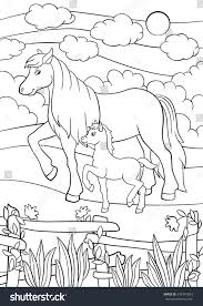 coloring pages farm animals mother horse stock vector 443341804