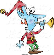 vector of a blue christmas cartoon elf blowing a horn by toonaday