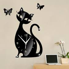 popular wall stickers black mirror buy cheap wall stickers black 2017 cute cat butterfly mirror black wall clock modern design home decoration accessories watch wall stickers