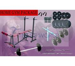 Weight Bench Package Kg Home Gym Package Weight Plates Multi 6 In 1 Bench Rods Gloves