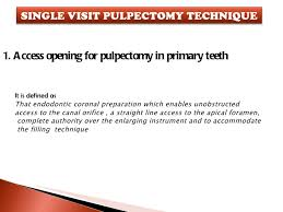 therapy openings nonvital pulp therapy in pediatric dentistry