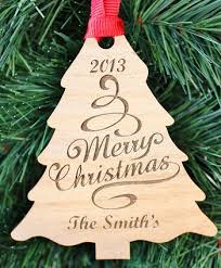 tree engraved wood ornament