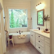 this master bath the shiplap freestanding tub and modern