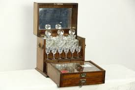 Portable Bar Cabinet Sold Oak 1890 Antique Portable Bar Cabinet Decanters