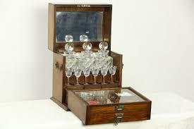 Oak Bar Cabinet Sold Oak 1890 Antique Portable Bar Cabinet Decanters