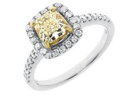 canary engagement rings yellow gold cluster flower bridal wedding band