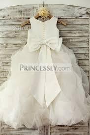 ivory satin organza ruffle ball gown princess flower dress