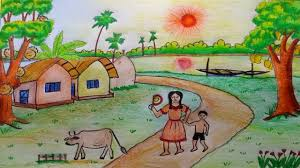 draw a summer season village scenery by oil pastel and water color