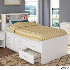 Full Size White Storage Bed With Bookcase Headboard Bedroom Furniture Sets Bedside Table Bed Lamp Shelf Bookcase