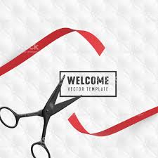 welcome vector banner template grand opening with red ribbon