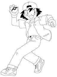 pokemon ash coloring pages printable ash ketchum