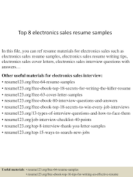 Sales Resume Sample Top8electronicssalesresumesamples 150707014142 Lva1 App6891 Thumbnail 4 Jpg Cb U003d1436233361