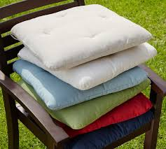 Outdoor Bistro Chair Pads Tufted Outdoor Dining Chair Cushion Solid Pottery Barn