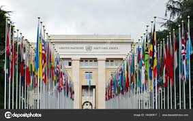 Picture Of Un Flag International Flags On Flag Poles In Front Of Un Palace U2013 Stock