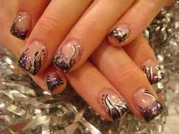 black nail designs with glitter