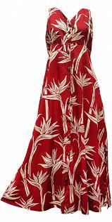 pareau paradise hawaiian print long tank dress button front in red