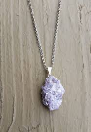 rock crystal necklace jewelry images Raw lepidolite crystal necklace rock jewelry geo crystal at jpg