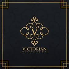 golden ornamental logo with the letter v vector free download
