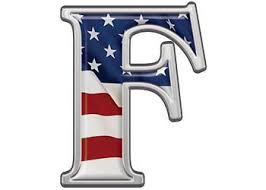 reflective letter f with flag alphabetically speaking